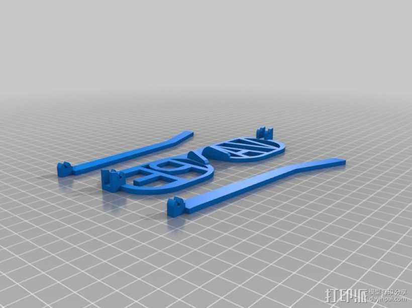 VAPE字母眼镜 3D打印模型渲染图