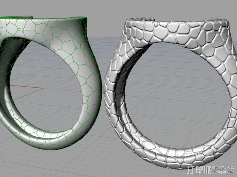 泰森多边形图案 戒指 3D打印模型渲染图