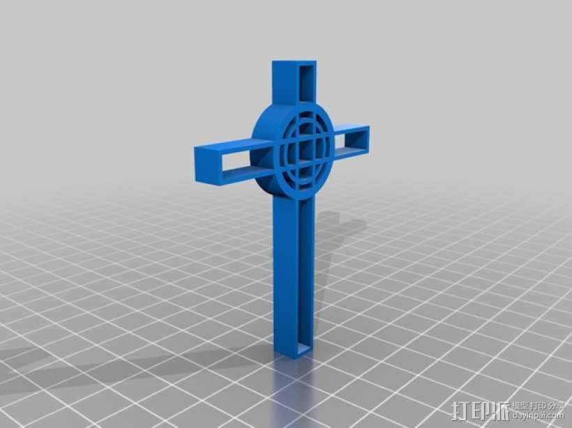 凯尔特十字架吊坠 3D打印模型渲染图