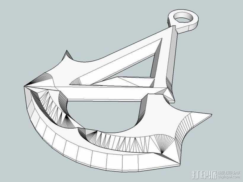 刺客信条 标志 钥匙坠 3D打印模型渲染图