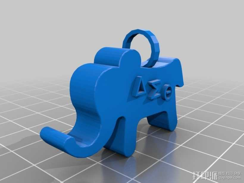 大象吊坠 3D打印模型渲染图