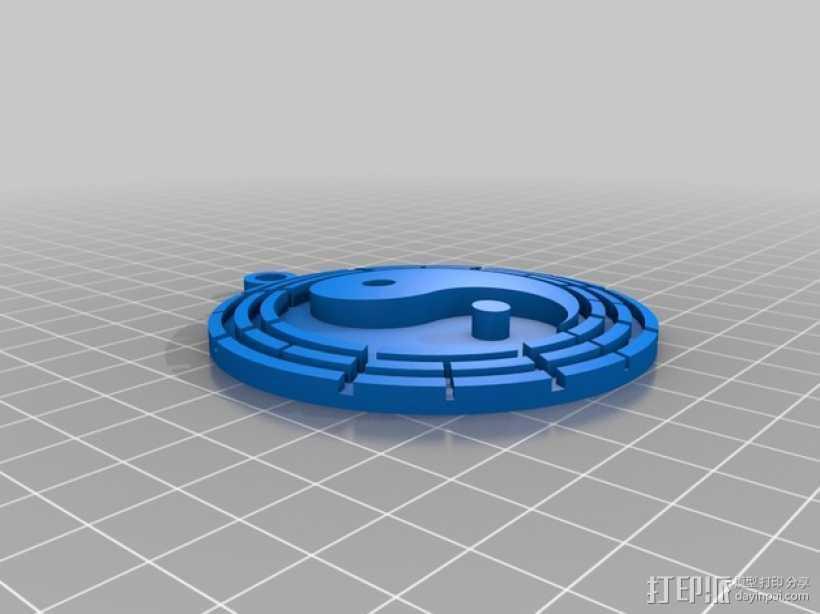 太极 挂件 3D打印模型渲染图
