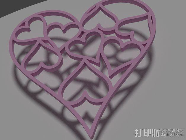 心形挂件 3D打印模型渲染图