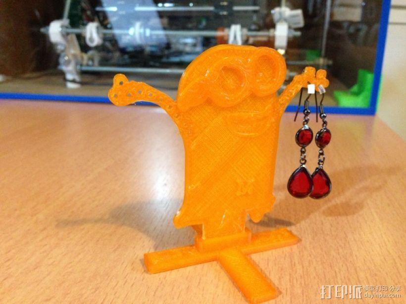 小黄人耳坠架 3D打印模型渲染图