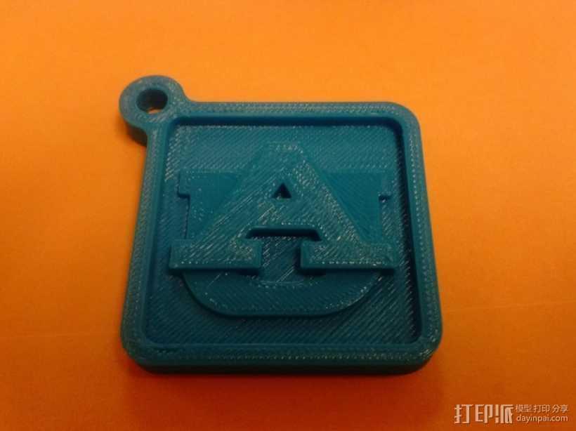 奥本大学 钥匙扣 3D打印模型渲染图