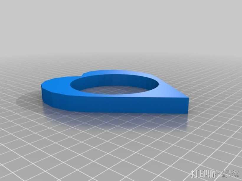 心形手环 3D打印模型渲染图