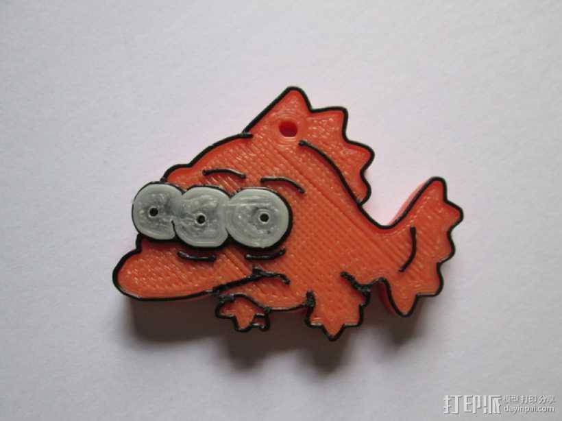 辛普森一家 三眼鱼Blinky挂件 3D打印模型渲染图