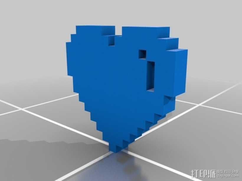 像素心 挂件 3D打印模型渲染图