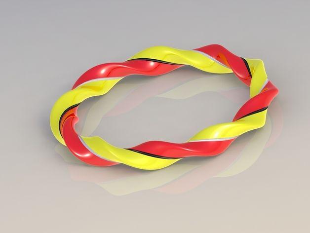 椭圆形螺旋手镯 3D打印模型渲染图