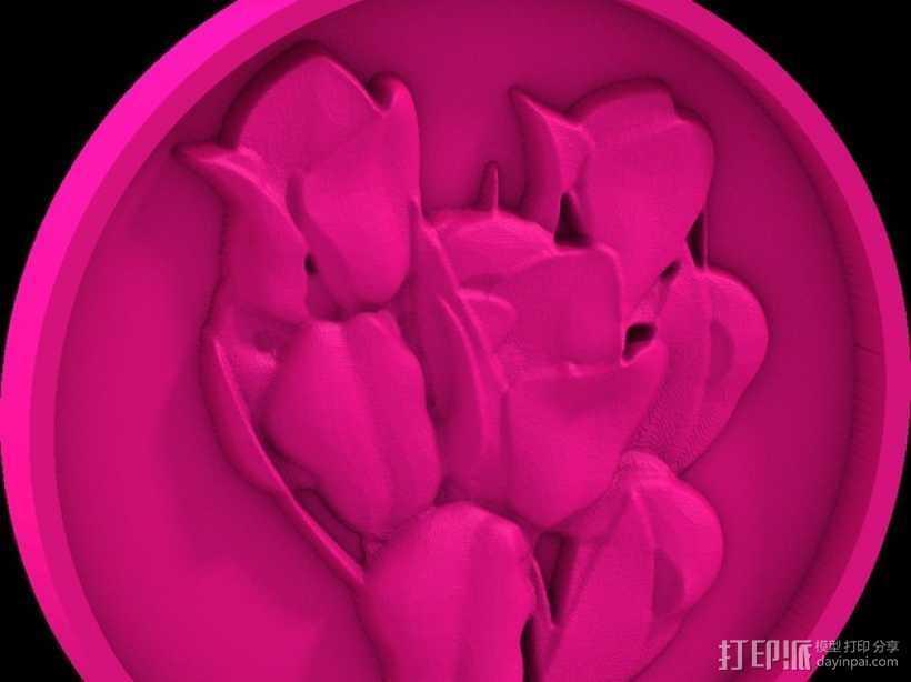 鲜花 吊坠 3D打印模型渲染图