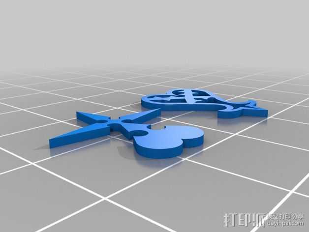 破碎的心 标志 3D打印模型渲染图