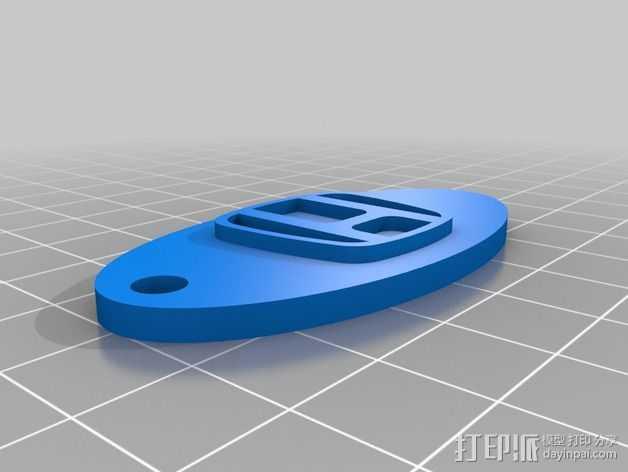 本田汽车标志 钥匙扣 3D打印模型渲染图