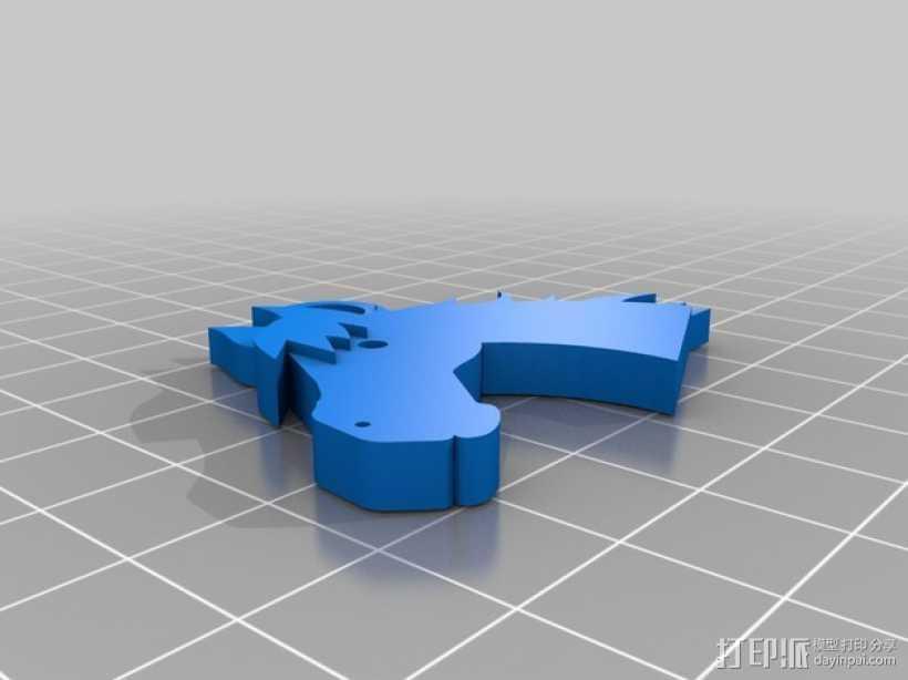 马头 钥匙坠 3D打印模型渲染图