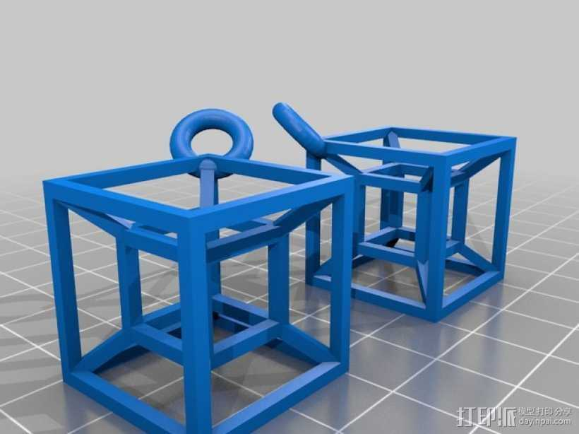 超立方体耳坠 3D打印模型渲染图