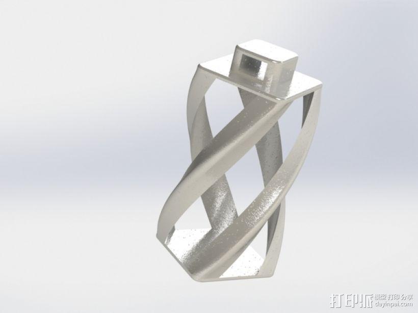 螺旋扭曲坠饰 3D打印模型渲染图