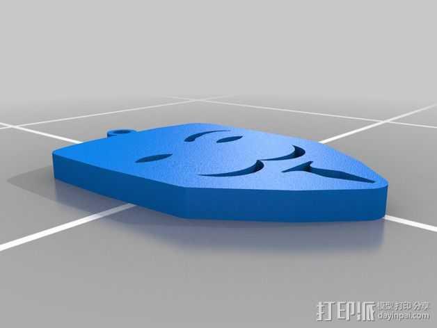 v字仇杀队钥匙扣 3D打印模型渲染图