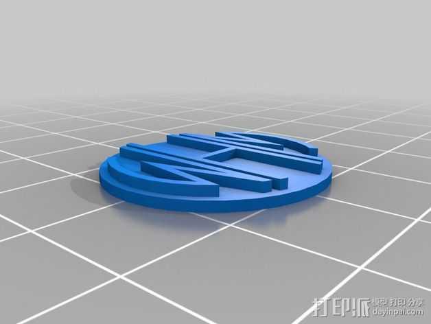 交织字母吊坠 3D打印模型渲染图