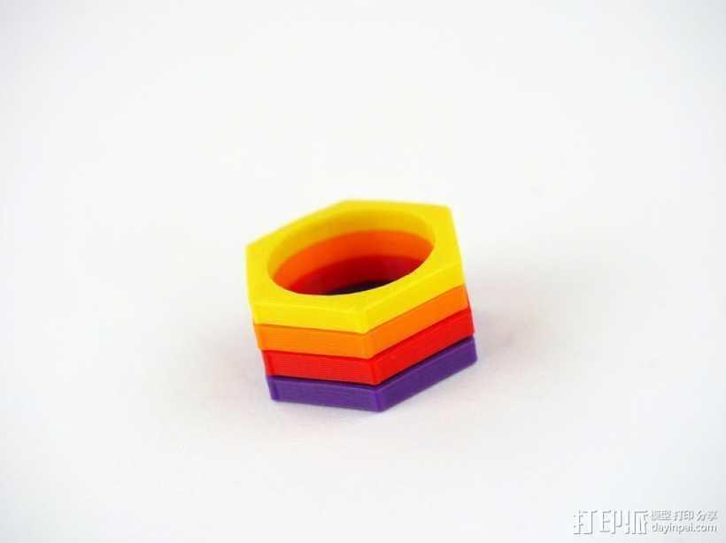 六边形戒指 3D打印模型渲染图