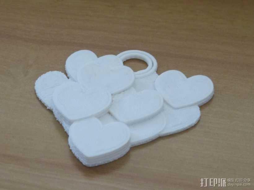 桃心 项链坠 3D打印模型渲染图