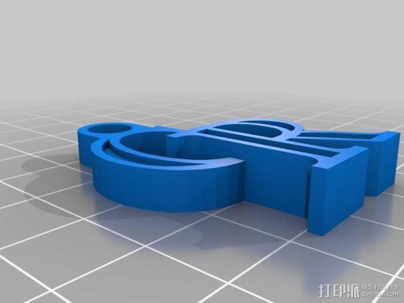 科罗拉多洛基山队 标志 钥匙扣 3D打印模型渲染图