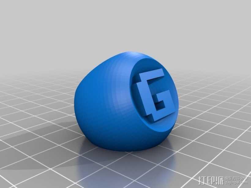 图章戒指 3D打印模型渲染图