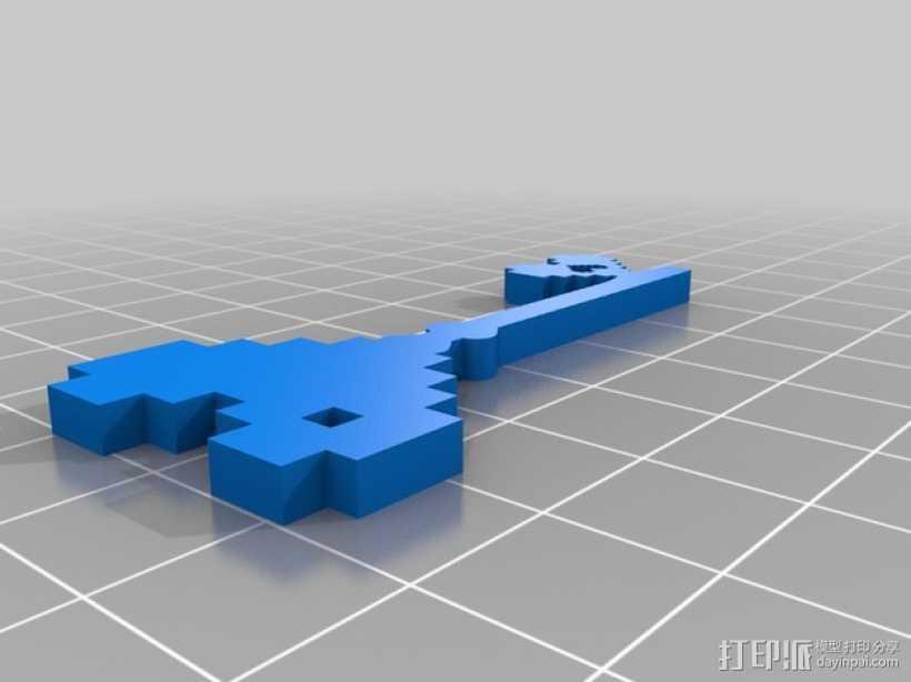 桃心钥匙 吊坠 3D打印模型渲染图