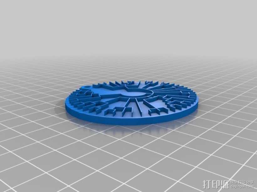 系谱树吊坠 3D打印模型渲染图