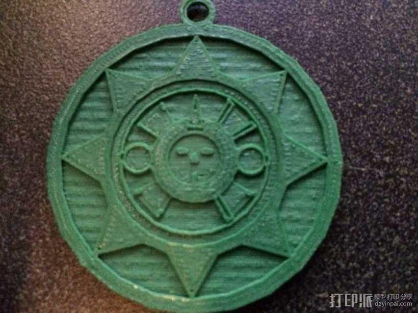 Aztec 阿兹特克人太阳石挂件 3D打印模型渲染图