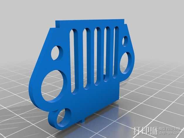 吉普车前杠 钥匙扣 3D打印模型渲染图