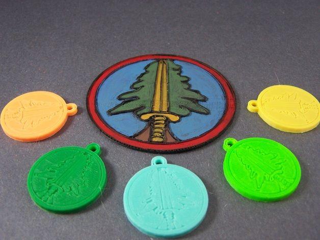树形徽章钥匙链 3D打印模型渲染图