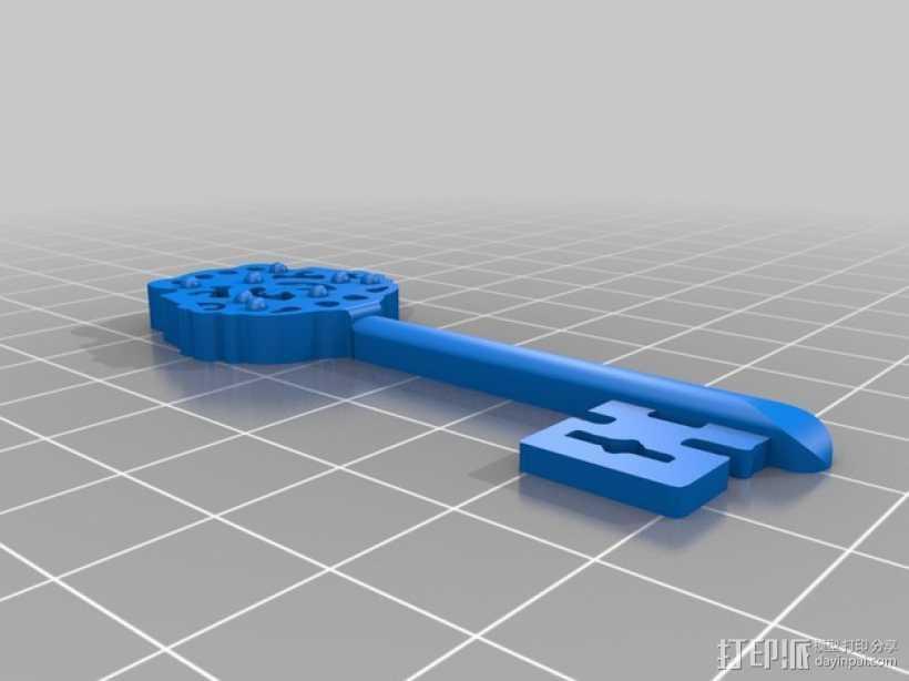 古董钥匙 3D打印模型渲染图