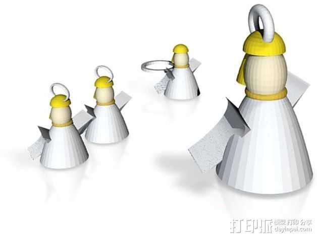 天使耳坠 吊坠 戒指 3D打印模型渲染图