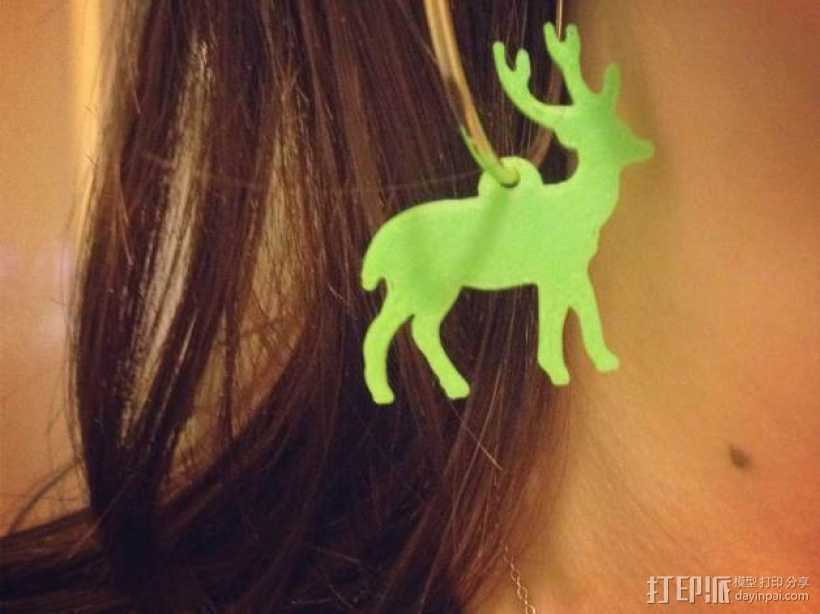 麋鹿形圣诞耳环 3D打印模型渲染图