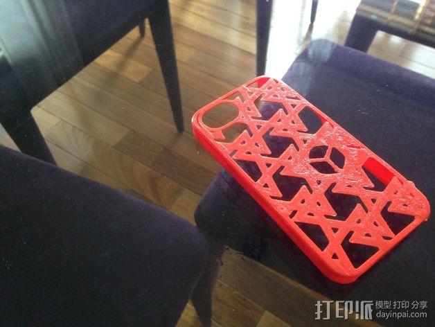 三角图形iPhone4s手机保护套 3D打印模型渲染图