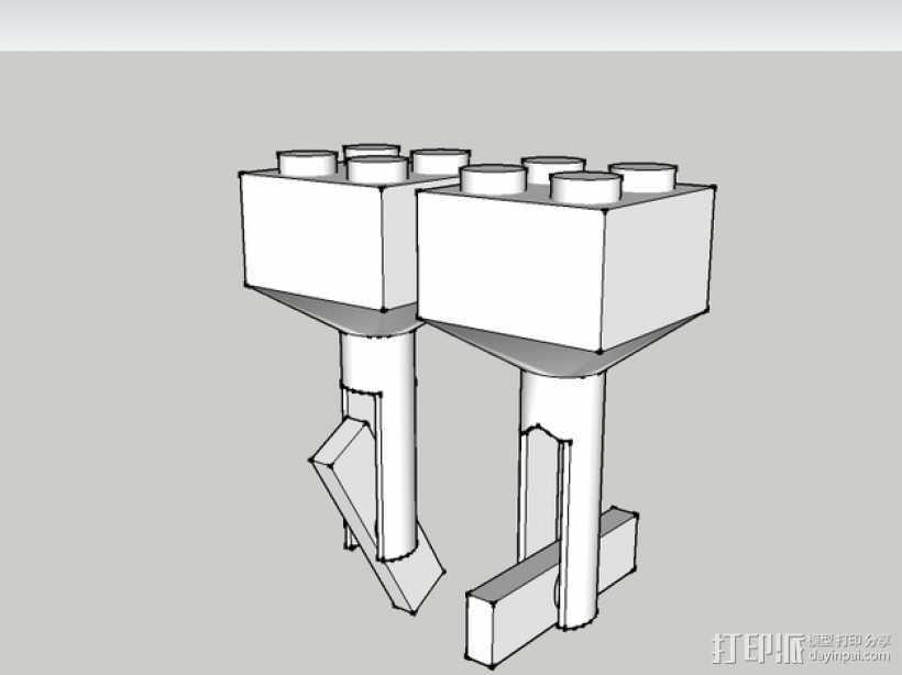 乐高积木 袖扣 3D打印模型渲染图