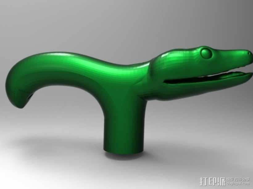 蛇头拐杖柄 3D打印模型渲染图