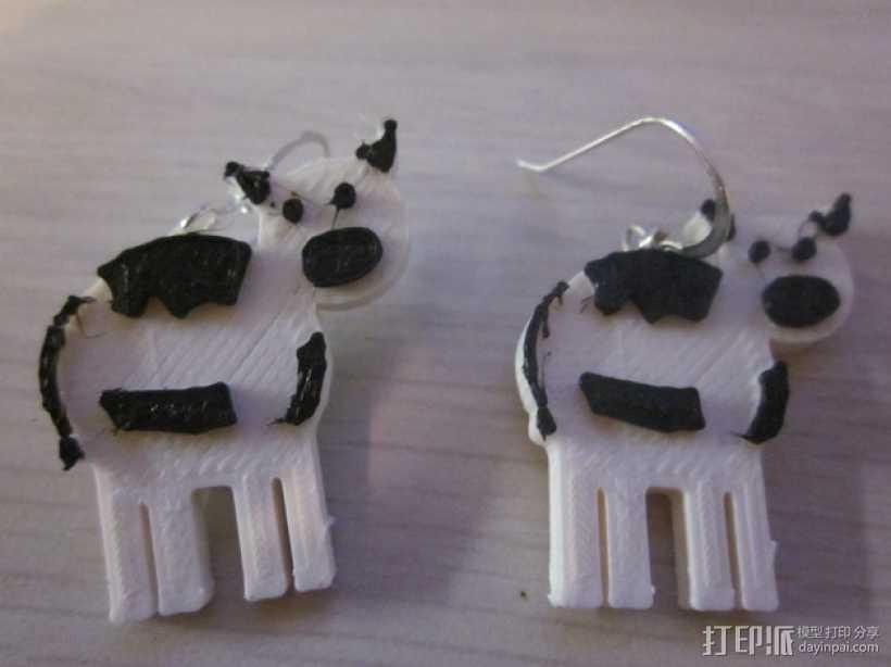奶牛耳环 3D打印模型渲染图
