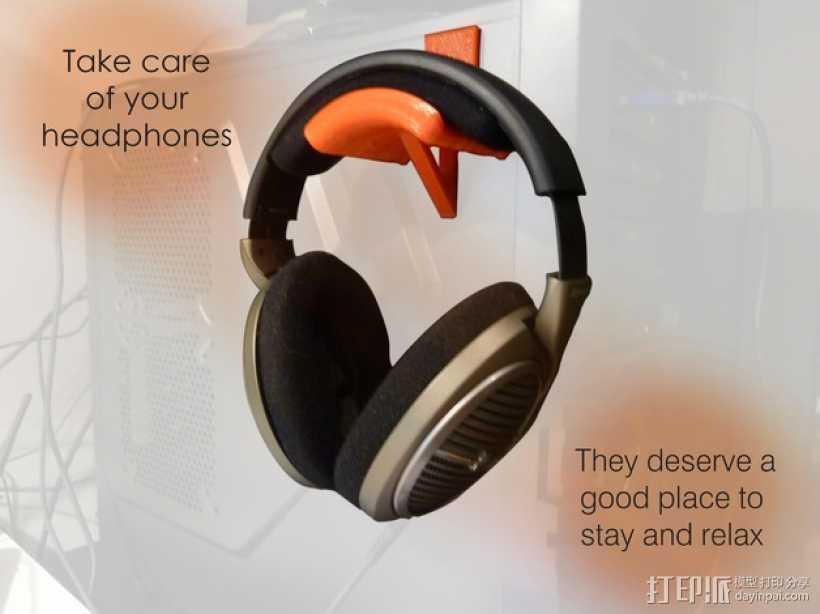 头戴耳机悬挂架 3D打印模型渲染图