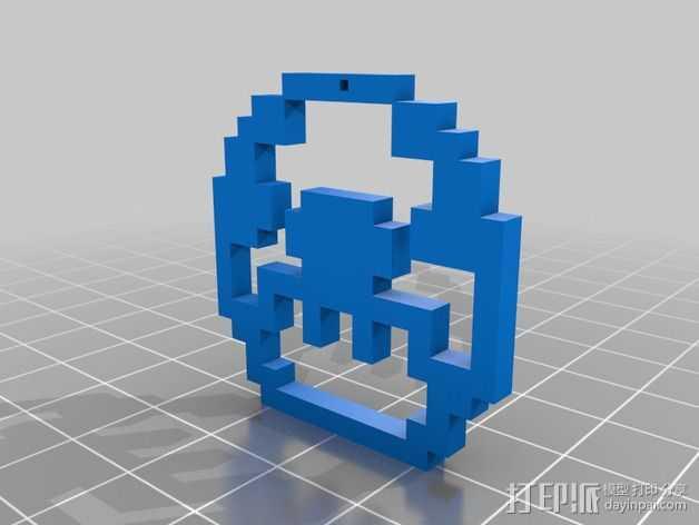 像素吊坠 3D打印模型渲染图
