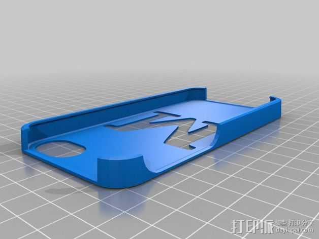 字母M iPhone5s手机保护壳 3D打印模型渲染图