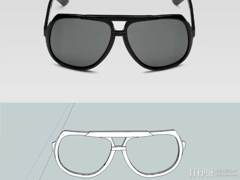 古驰太阳镜 3D打印模型渲染图