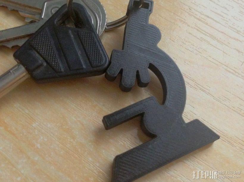 显微镜钥匙扣 3D打印模型渲染图
