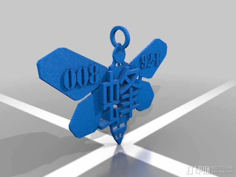 蜜蜂项链坠 3D打印模型渲染图