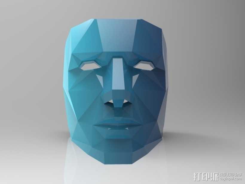 蓝色面具 3D打印模型渲染图