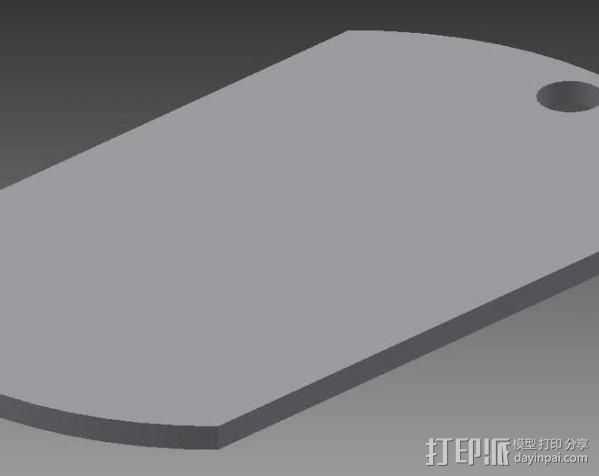 军用身份识别牌 3D打印模型渲染图