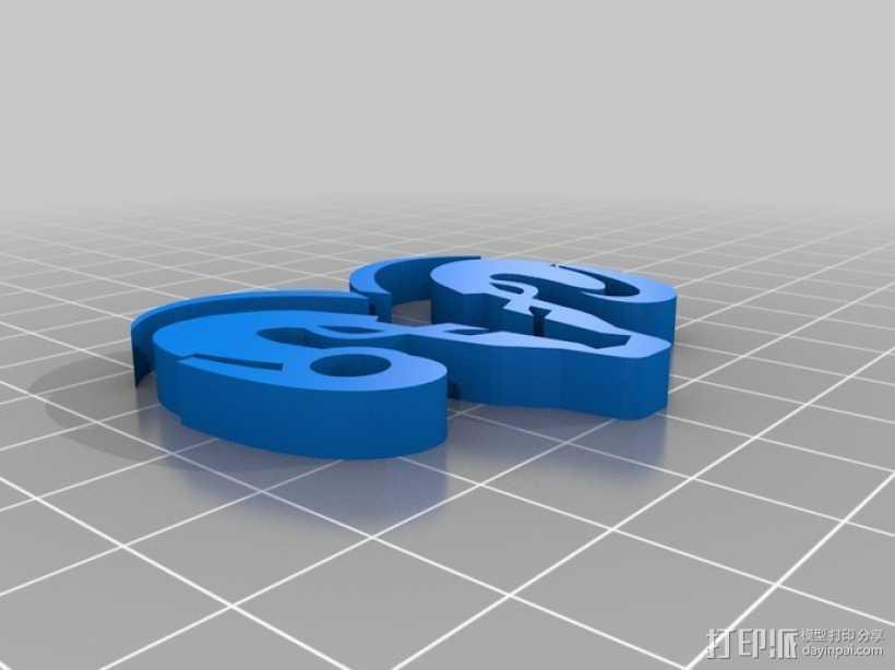 道奇钥匙链 3D打印模型渲染图