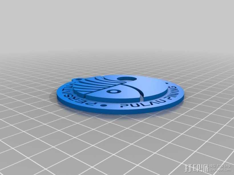 槟城钓鱼协会钥匙扣 3D打印模型渲染图
