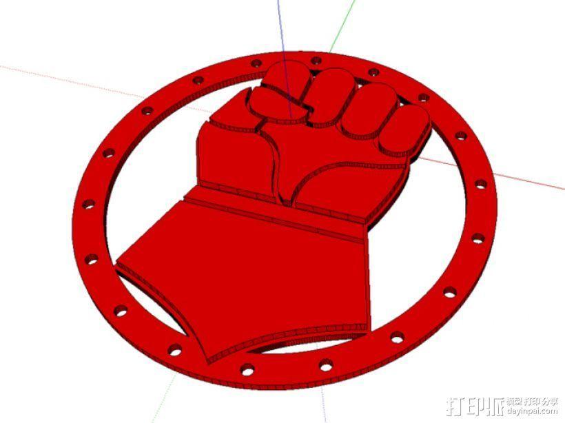 绯红之拳 徽章 3D打印模型渲染图