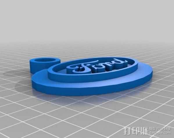 福特钥匙链 3D打印模型渲染图