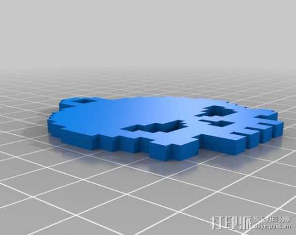 骷髅头钥匙链 3D打印模型渲染图